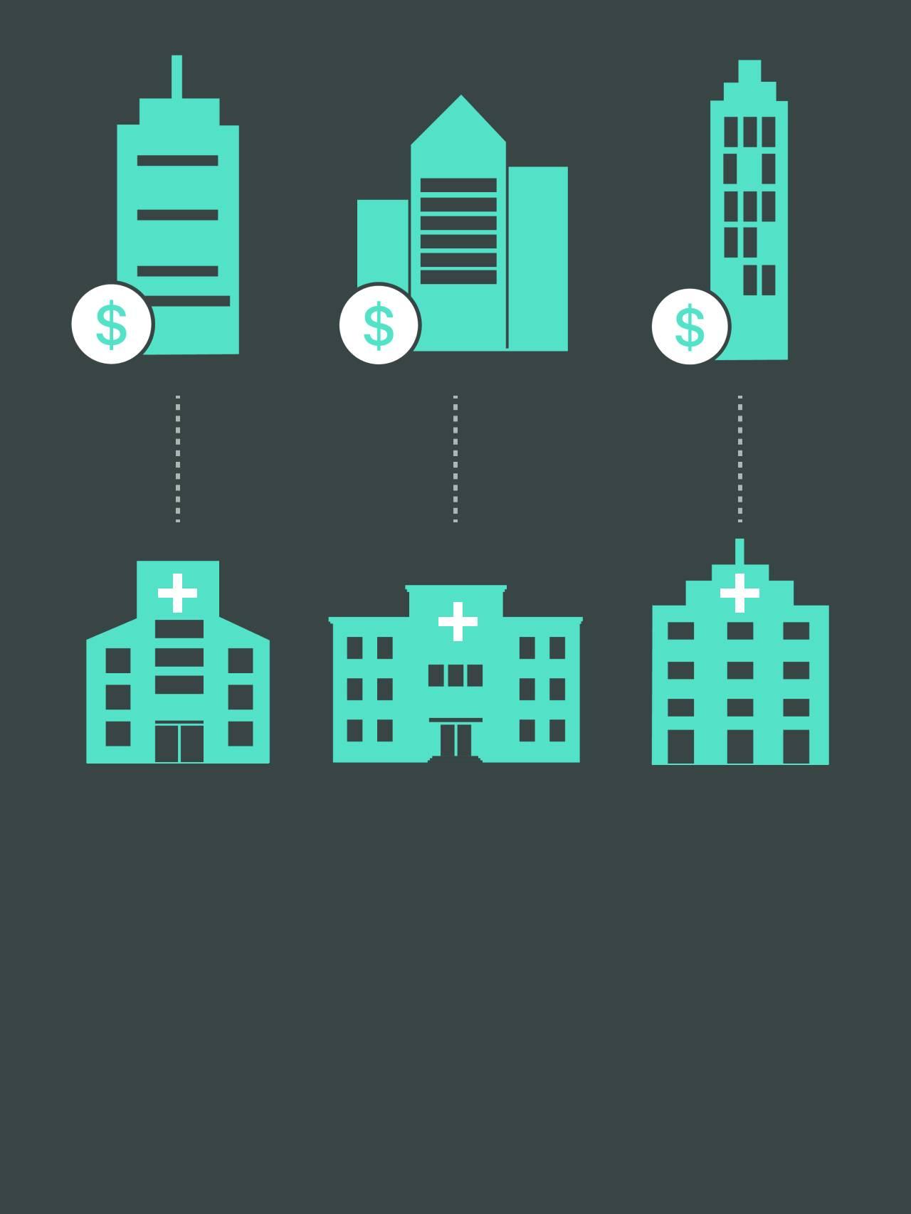 Illustrasjon av forsikringsselskap og sykehusene de bruker. Forsikringsselskapenes nettverk.