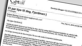 E-post mellom Anders Behring Breivik og Peder Jensen (Fjordman)