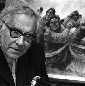 LOFOTBILDE: Kaare Espolin Johnson foran et av sine mest kjente motiver. Foto: Ivar Aaserud, Aktuell / Scanpix, 1968