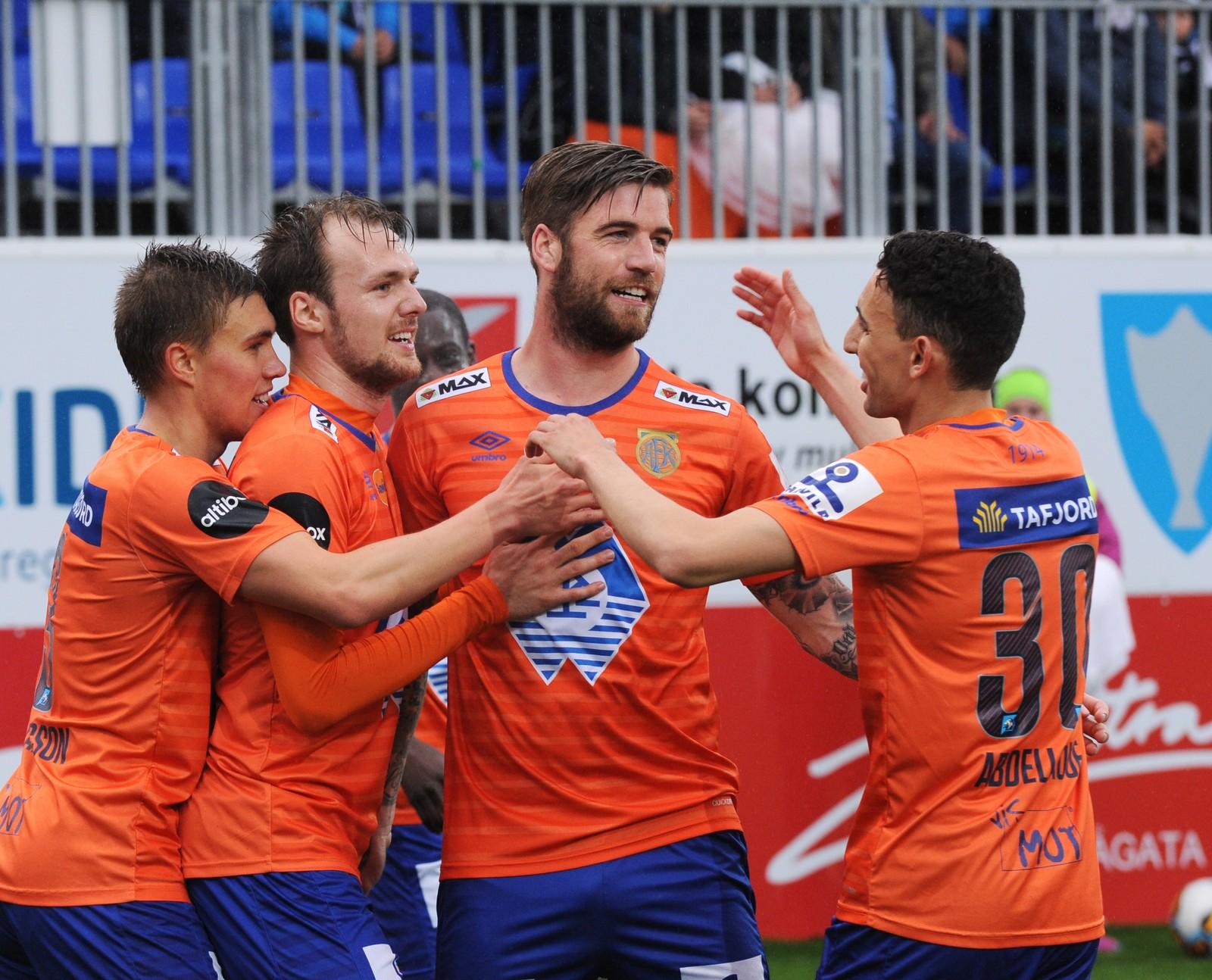 Aalesunds Lars Veldwijk scoret 1-0 Foto: Anders Tøsse / NTB scanpix