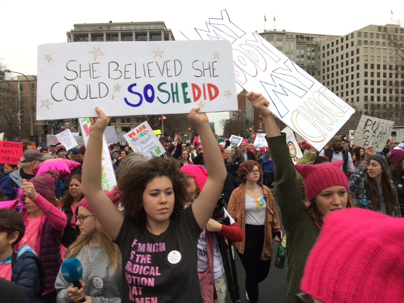 Flere av demonstrantene i Washington hadde aldri vært på demonstrasjoner tidligere.