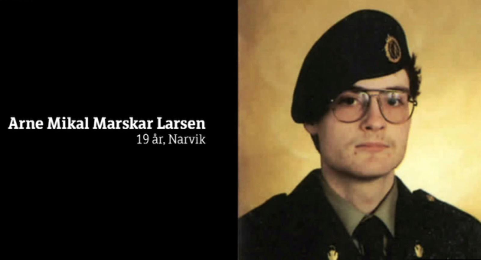 Arne Mikal Marskar Larsen, 1986, døde i Vassdal-skredet.