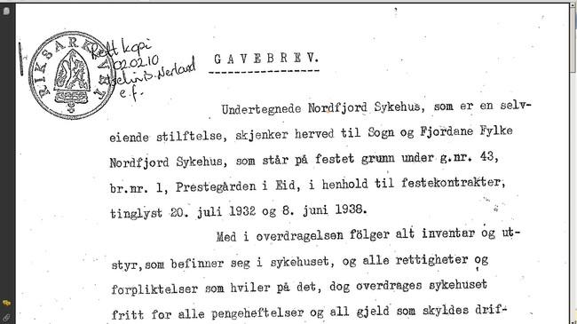 Gåvebrevet frå Nordfjord Sjukehus til Sogn og Fjordane fylke.