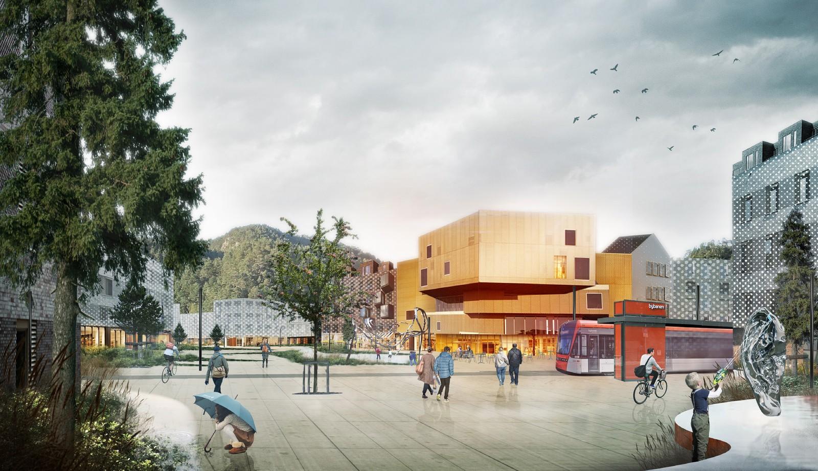 Spelhaugen, tegnet med mulig fremtidig byutvikling.