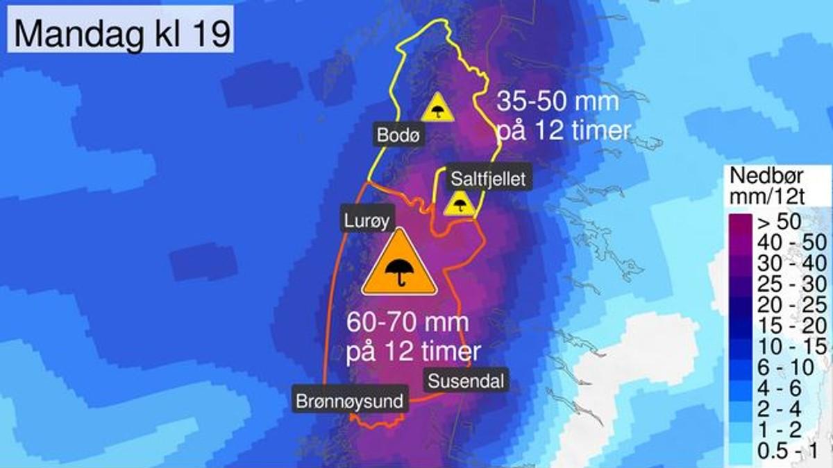 Svært mye regn på Helgeland mandag, oransje farenivå