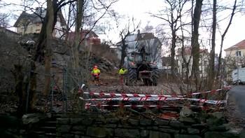 Her felles det første av de nær 30 trærne i Jekteviken i Bergen. Dermed har en nesten ti års krangel nådd sitt klimaks.