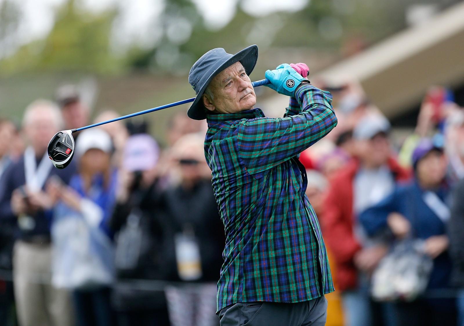 Skuespilleren Bill Murray deltar på en kjendisturnering i Pebble Beach i California.