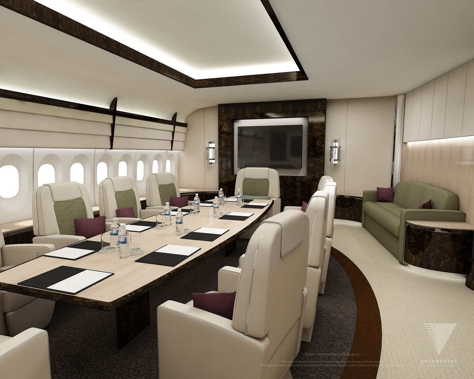 Her er forslag til møterom i flyet. Slik fremstilles mulighetene for lususinteriør i flytypen i konseptskisser fra Boeing.