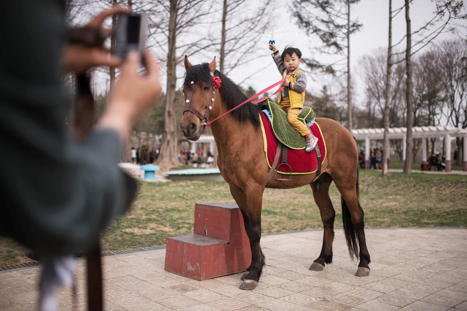 En gutt poserer på en hest i dyrehagen i Pyongyang.