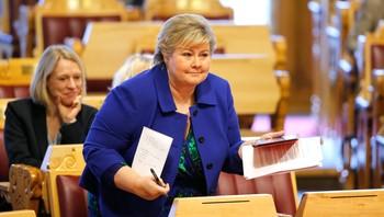 Statsminister Erna Solberg i stortingssalen