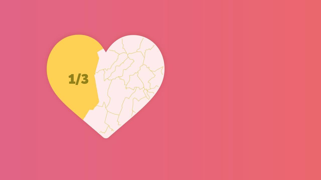Illustrasjon hjerte hvor 1/3 er markert