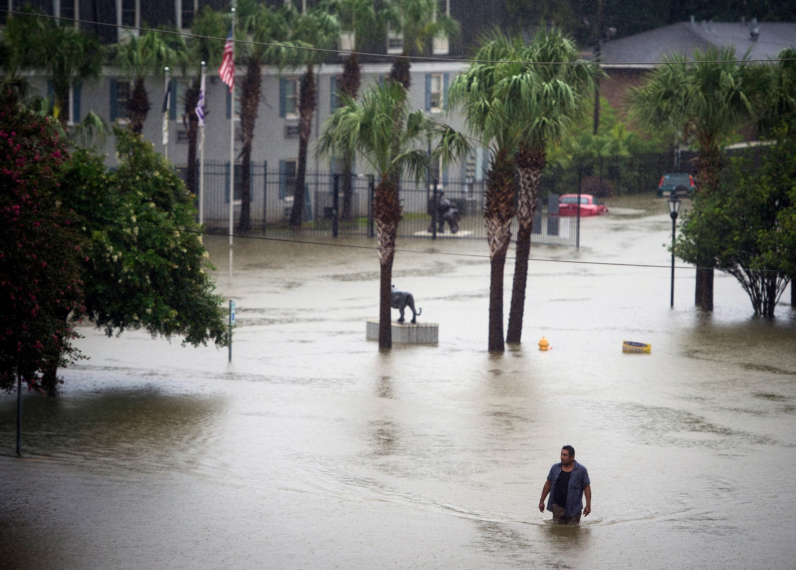 OVERSVØMT: En person jobber seg gjennom flomvannet i Baton Rouge, Louisiana.