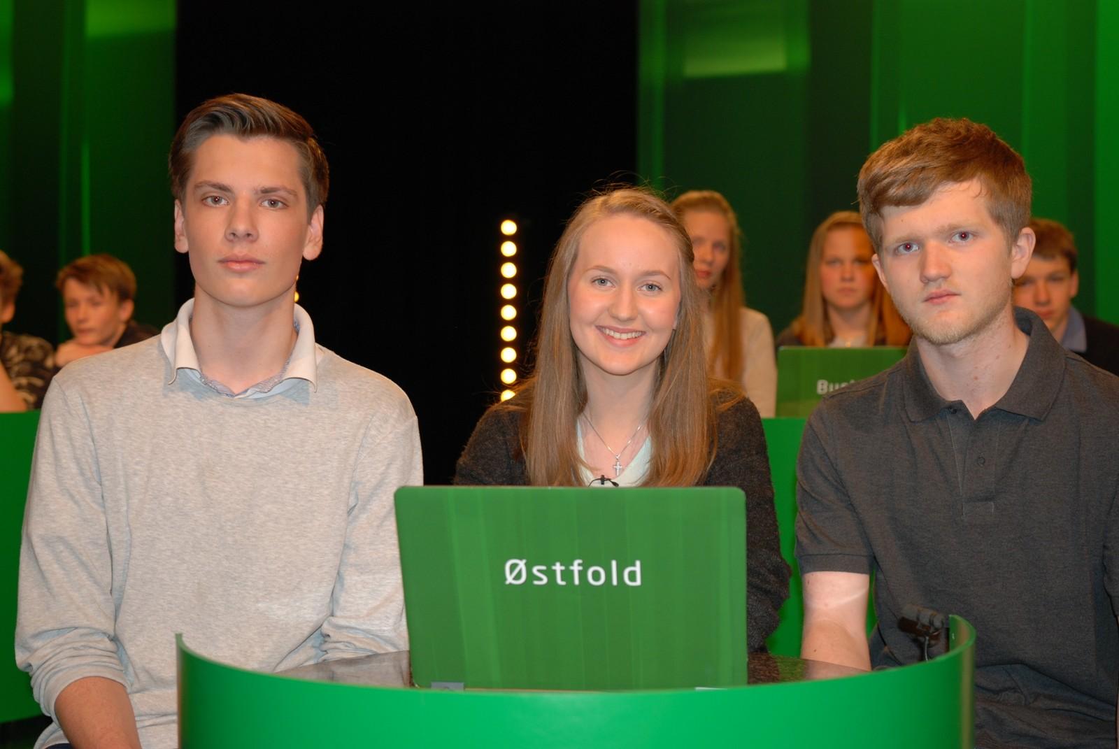 ØSTFOLD: Halmstad barne- og ungdomsskole i Rygge representert ved Christian Aron Vea, Jon Eivind Ytrehorn og Kaja Osberg.