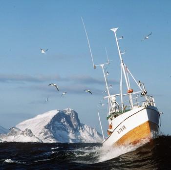 Fiskebåt med Lofotveggen i bakgrunnen