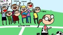 Du vet du er skilsmissebarn når du har 14 familiemedlemmer som heier på deg på fotballkamp. Illustrasjon: Tegne-Hanne