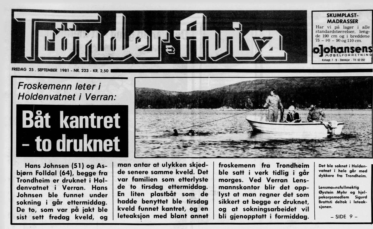 Søk etter Asbjørn Foldahl, faksimile Trønder-Avisa.