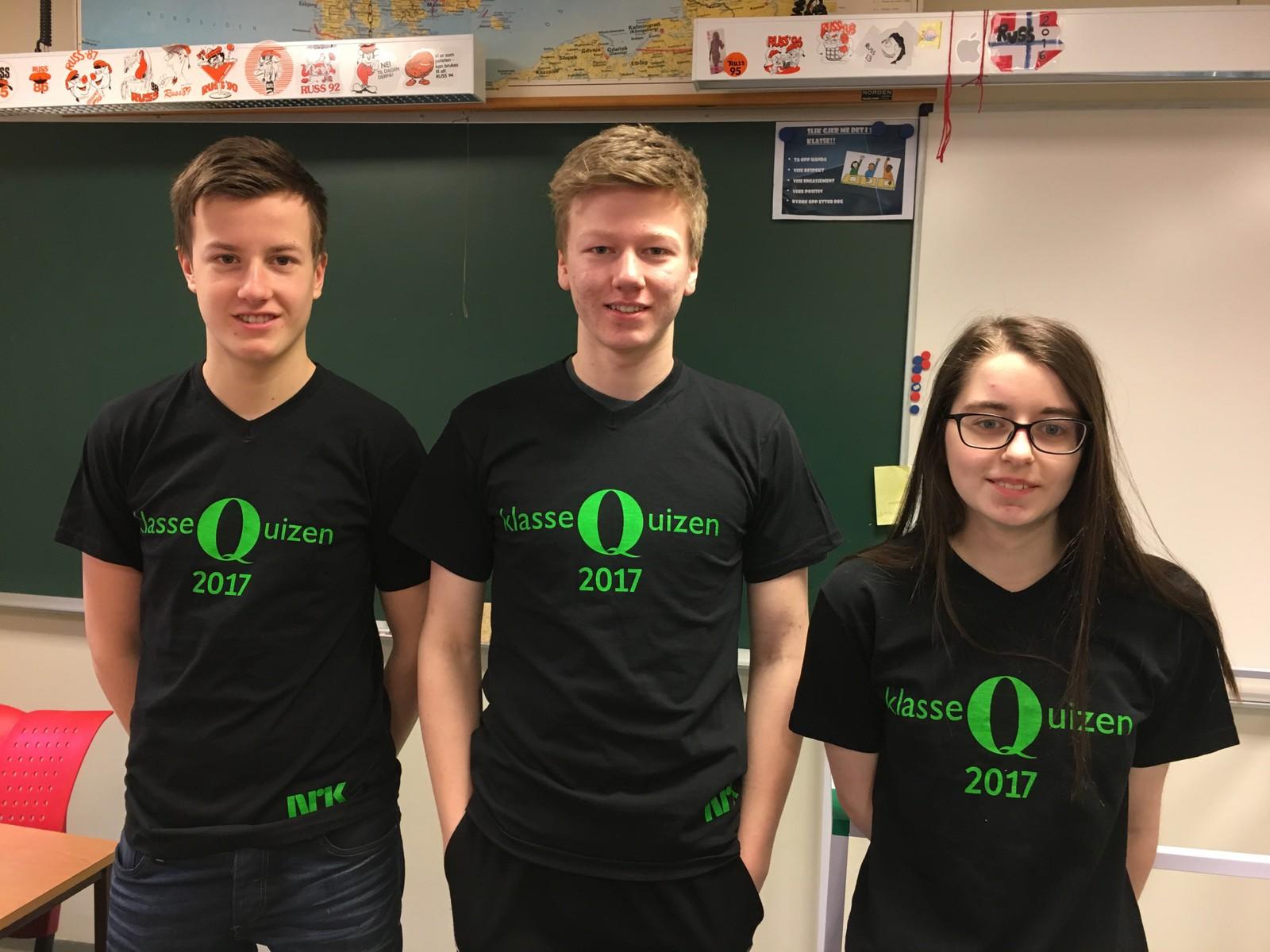 10 POENG: Matre skule sine unge lovende, fra venstre: Jostein Haugsvær, Kristian Asheim og Malin Matre.