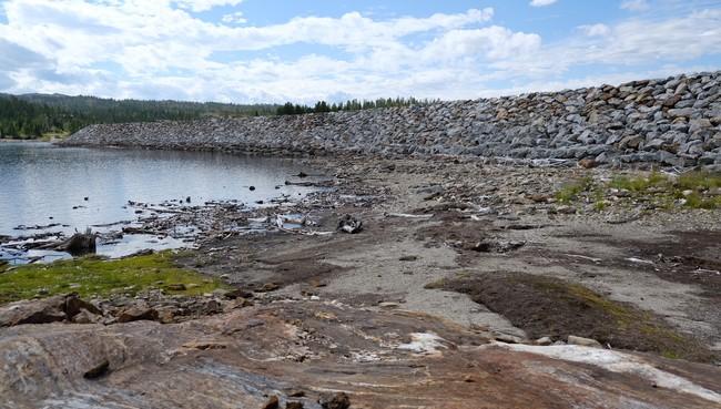 Lav vannstand i vannmagasinet til Håen kraftverk i Melhus kommune