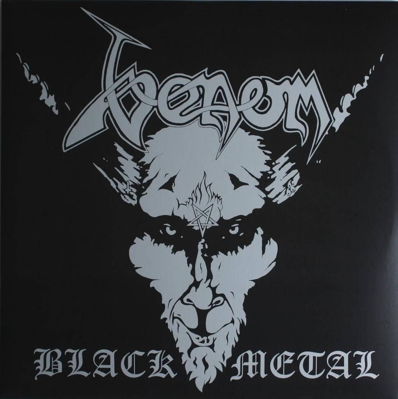 Coveret til albumet Black Metal av Venom. Coveret viser en sort-hvitt tegning av djevelen med et pentagram i panna.