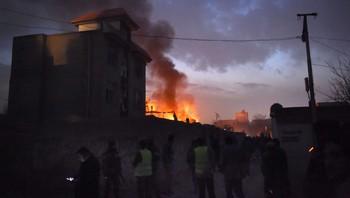 Brann i restauranten Le Jardin i Kabul 1. jan 2016