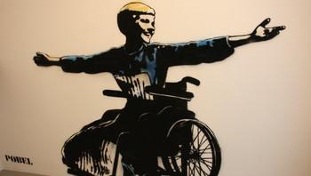 """Pøbel har malt """"Maria"""" på veggen i handicaptoilettet i Kaviarfabrikken."""