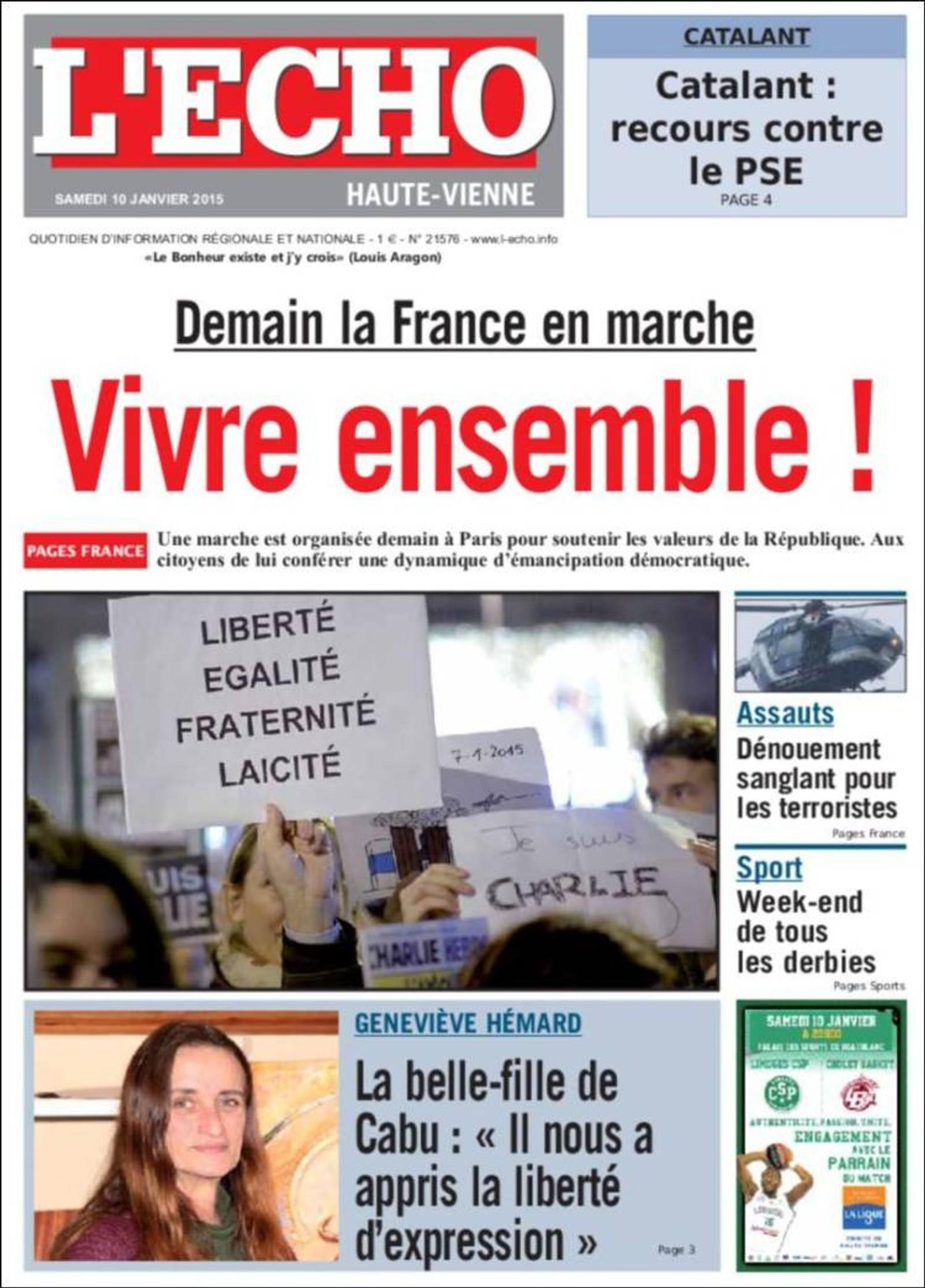 L'Echo: I morgen marsjerer Frankrike. Lev sammen!