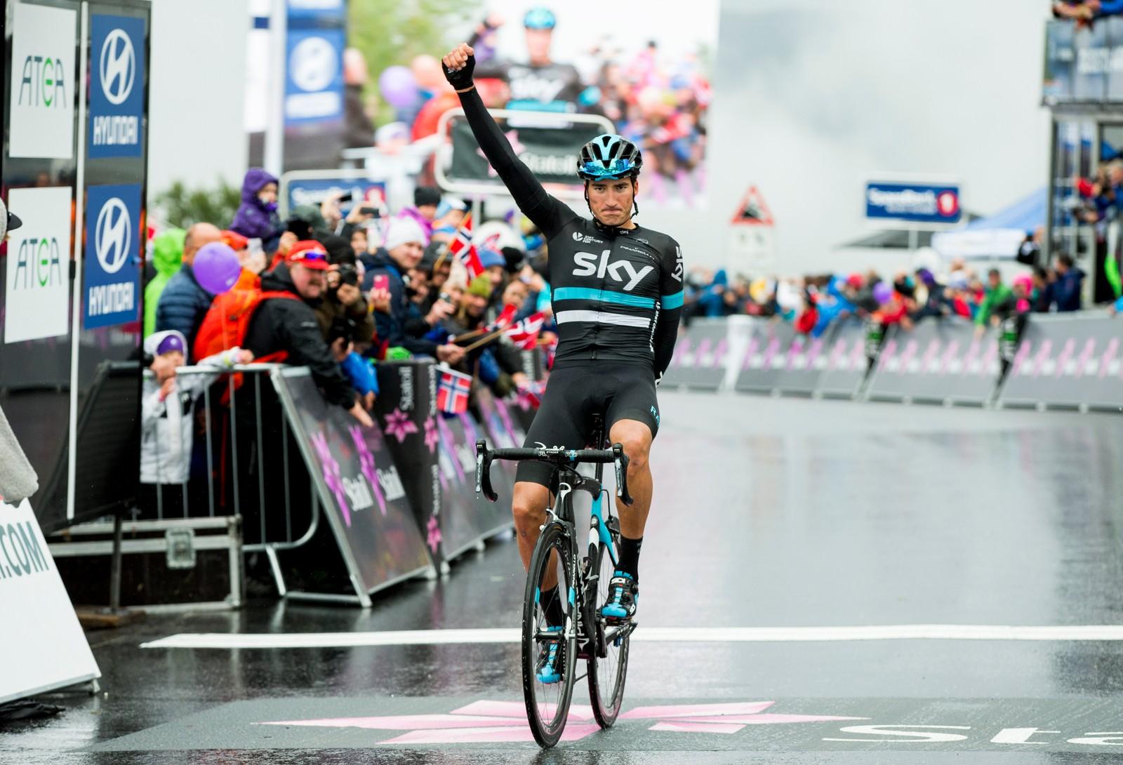 Gianni Moscon (Team Sky) vant tredje etappe i sykkelrittet Arctic Race of Norway lørdag. Etappen gikk fra Nesna til Korgfjellet.