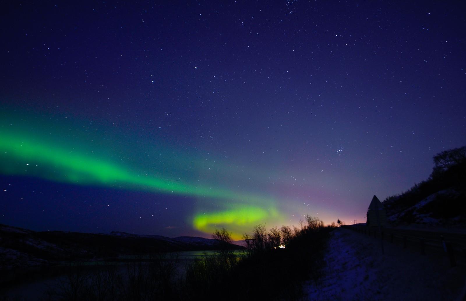 Nordlys fotografert over Kirkenes 11. november.