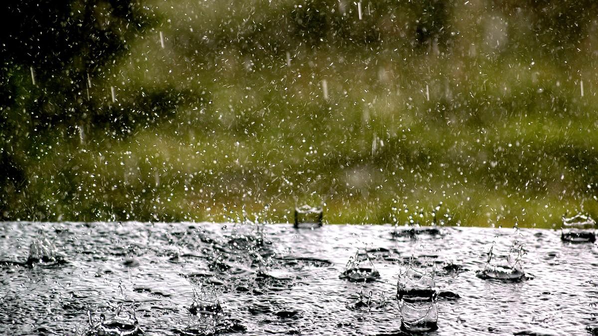 Regndråper treffer bakken om sommeren - Foto: KVALE,  JENS O/SCANPIX