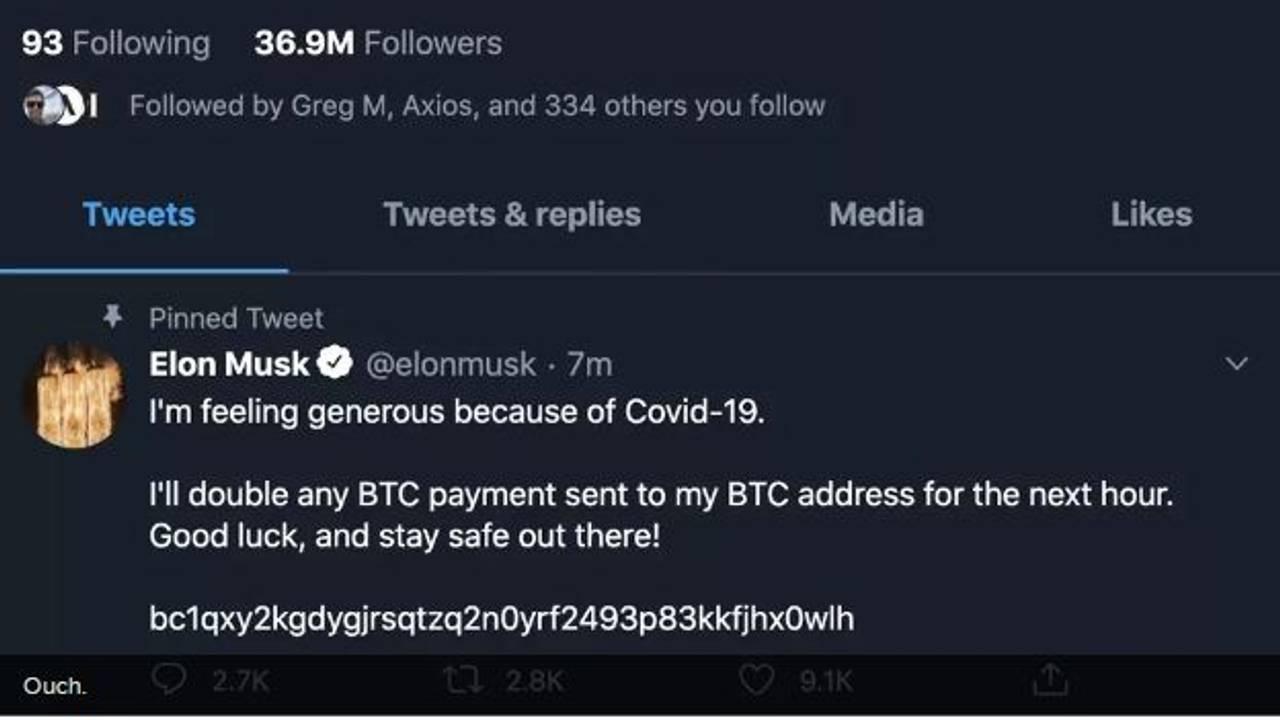 Skjermdump av en melding som ble lagt ut på twitterkontoen til Elon Musk etter at han ble hacket.