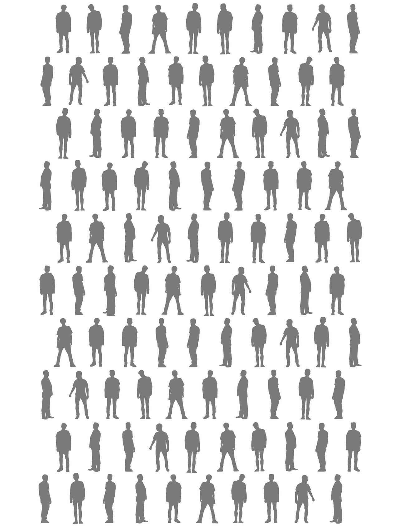 Silhuetter av 100 menn