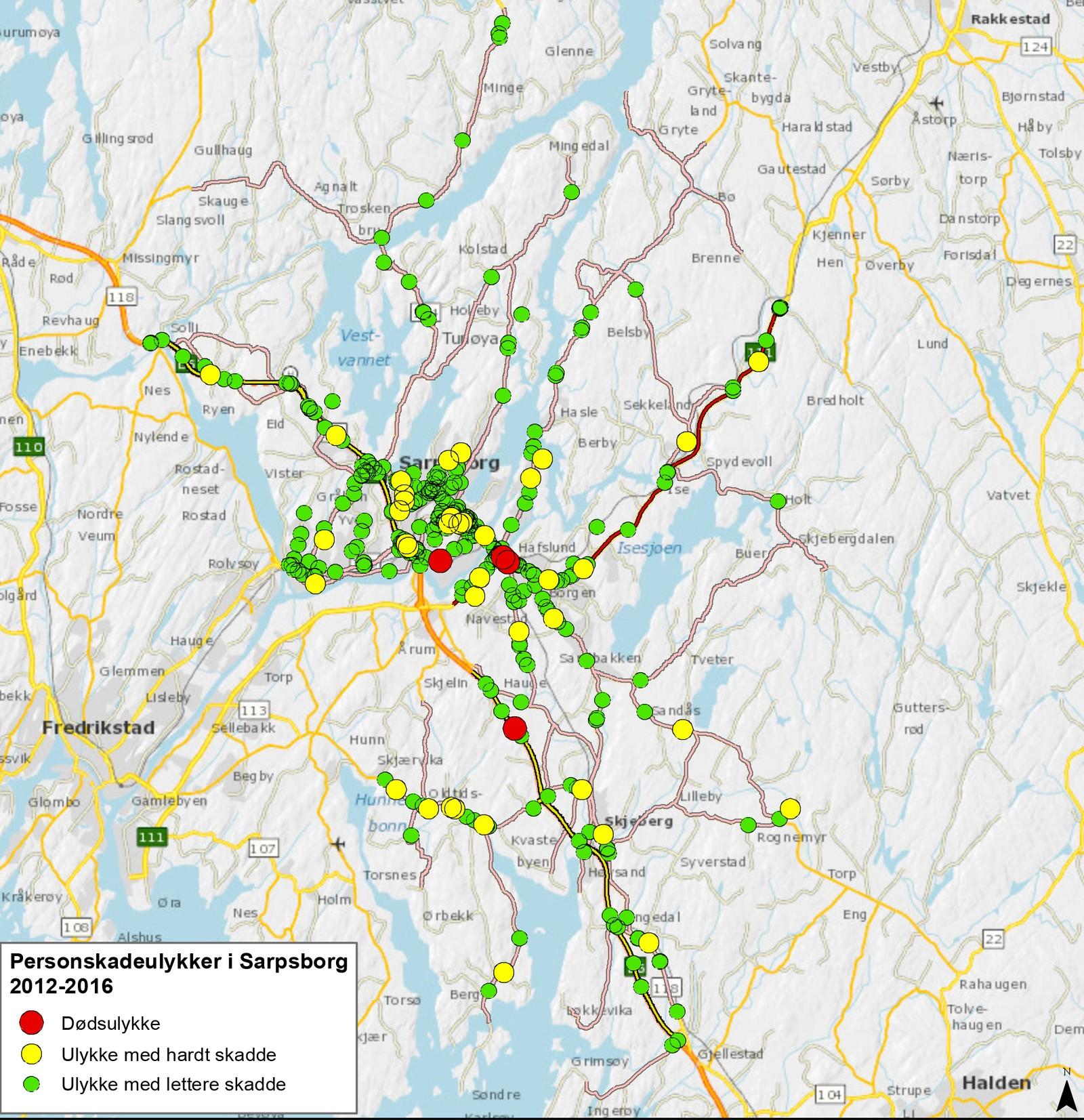 I Sarpsborg har de fleste ulykkene skjedd i sentrumsgatene, på riksvei 111 Statsminister Torps vei og fylkesvei 109 mellom Alvim og Sandesund.