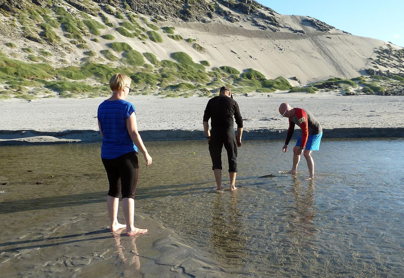 Uten fiskeutstyr måtte turkameratene vasse ut i elva og bruke hendene.