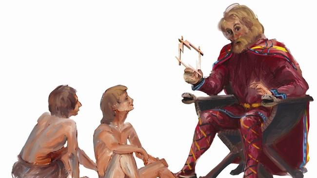 Eidehovdingen med tankeringen som vi i dag finn att i eit monument i Sandane sentrum. Illustrasjon Bernt Kristiansen.