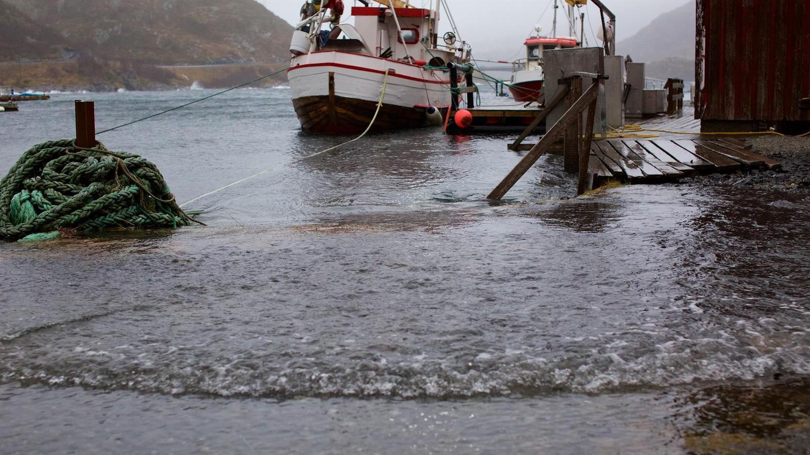 Vannet står nå over bryggekanten flere steder i Lofoten.