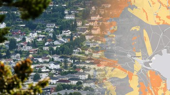 Montasje: Drammen og radonkart
