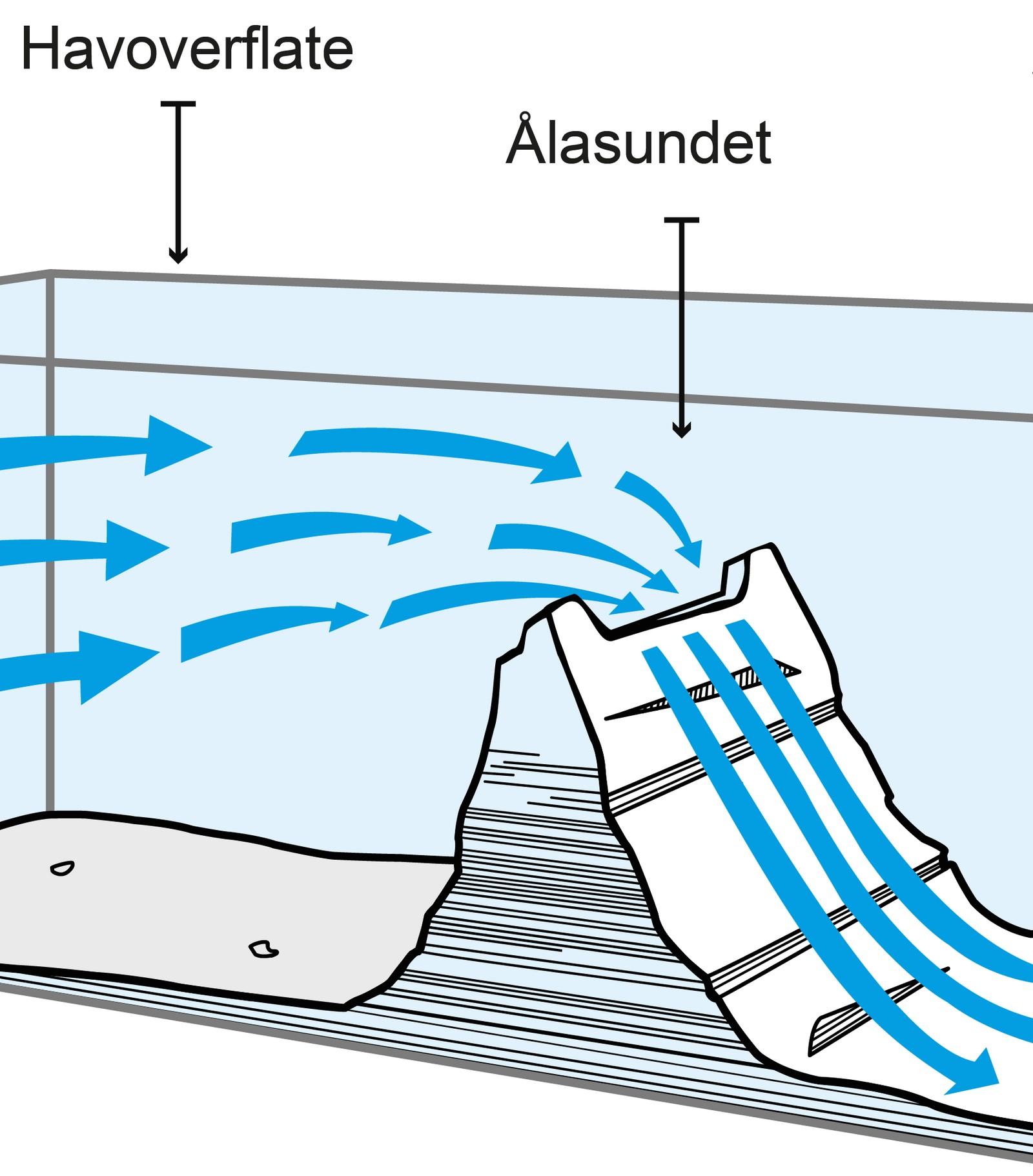 Ålasundet er både smalt og grunt. Siden vann ikke kan komprimeres, tvinges vannet til å renne enda raskere.