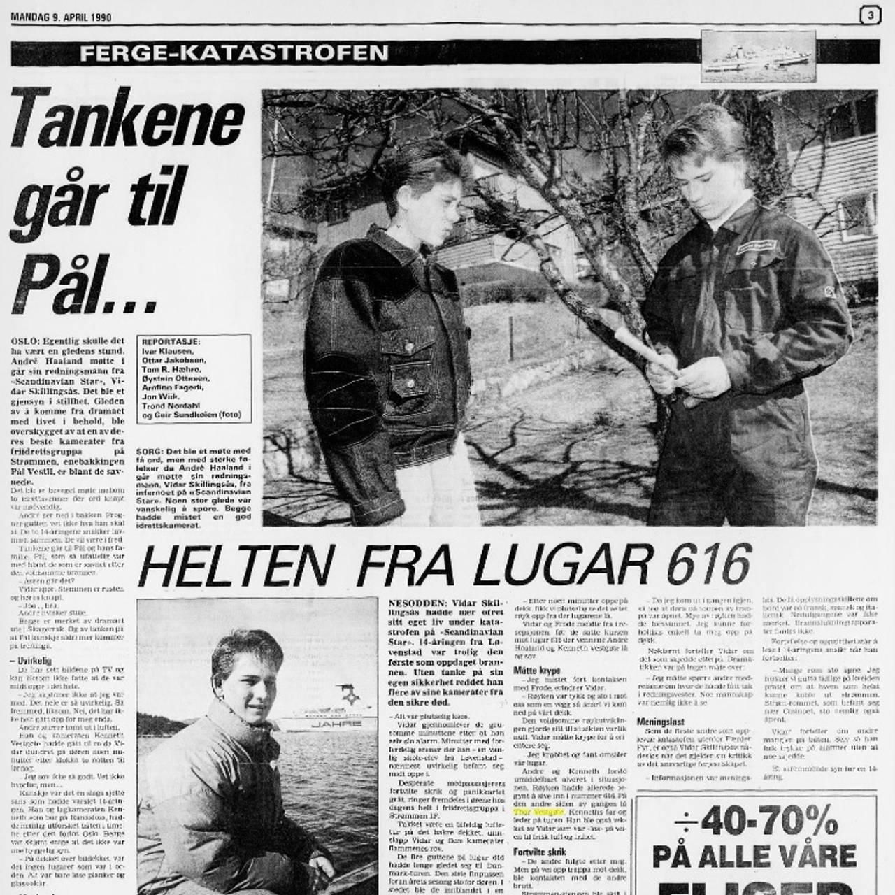 Faksimile fra Romerikes Blad 9. april 1990.