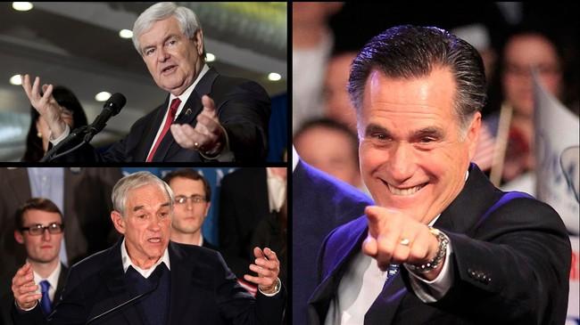 Stor stemning på valgvakene til Mitt Romney (store bildet) og Ron Paul (under til venstre), mens det var mer lunket hos Newt Gingrich (over til venstre).