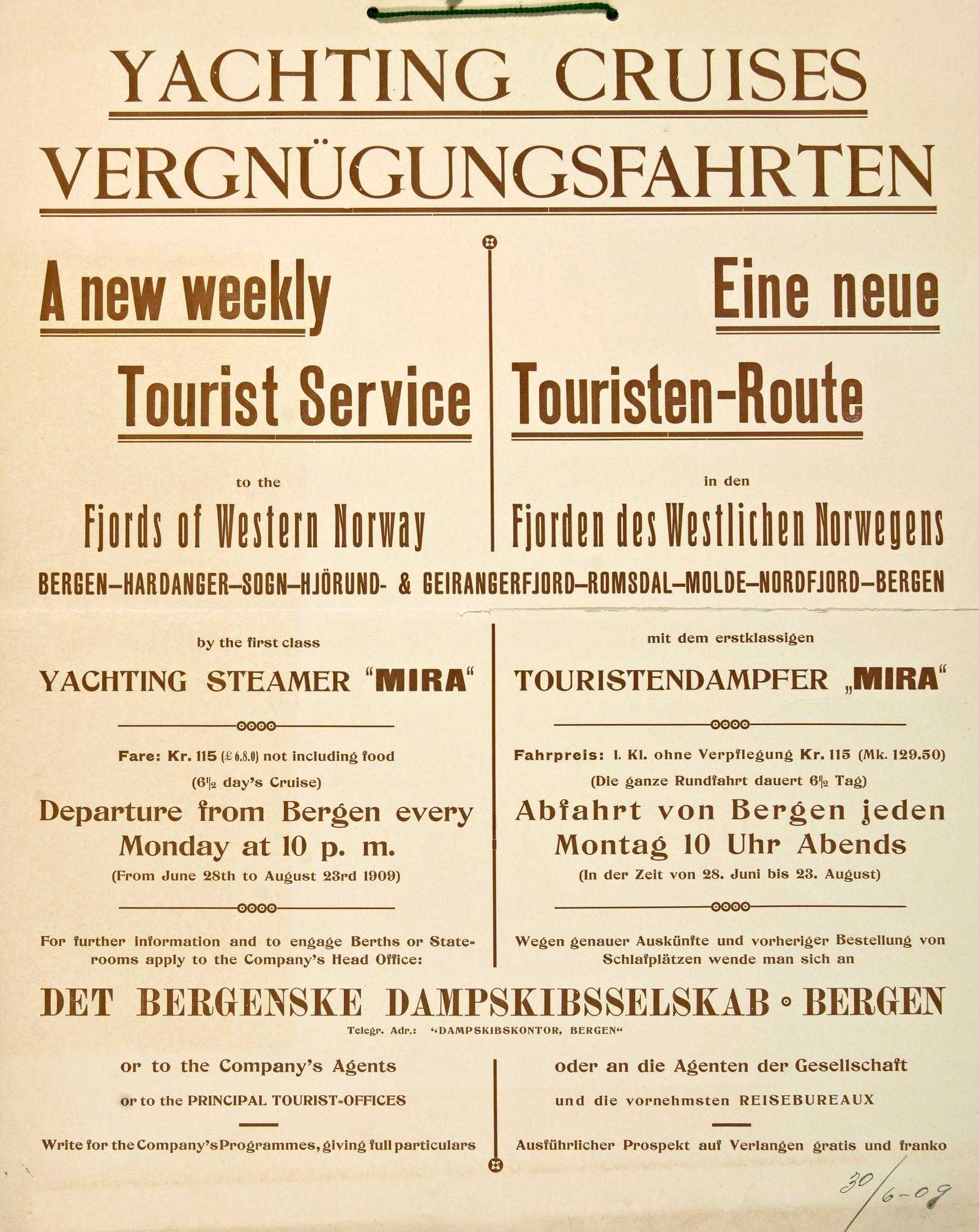 Yachting Cruises / Vergnügungsfahrten. Saklig og informativ plakat fra 1909.