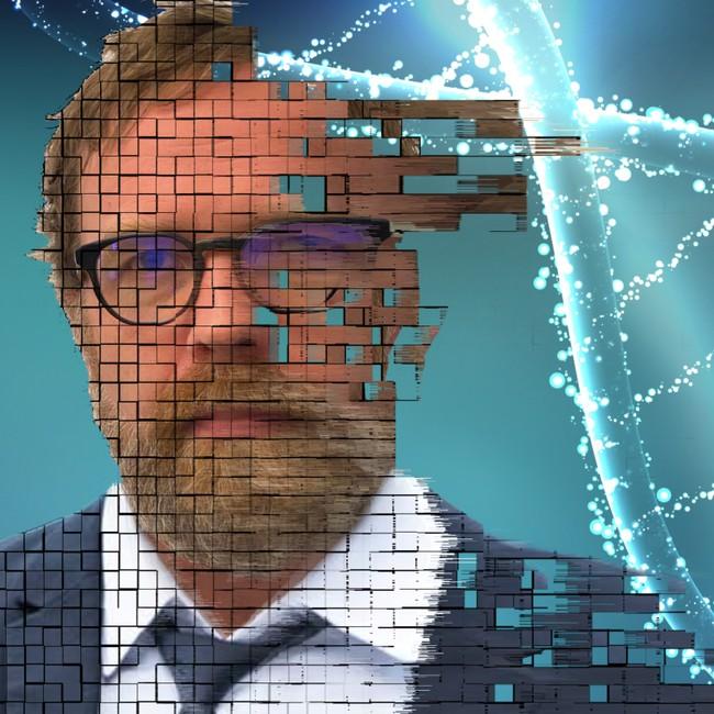 Bilde av Eirik Solheim går over i grafikk av en DNA-spiral