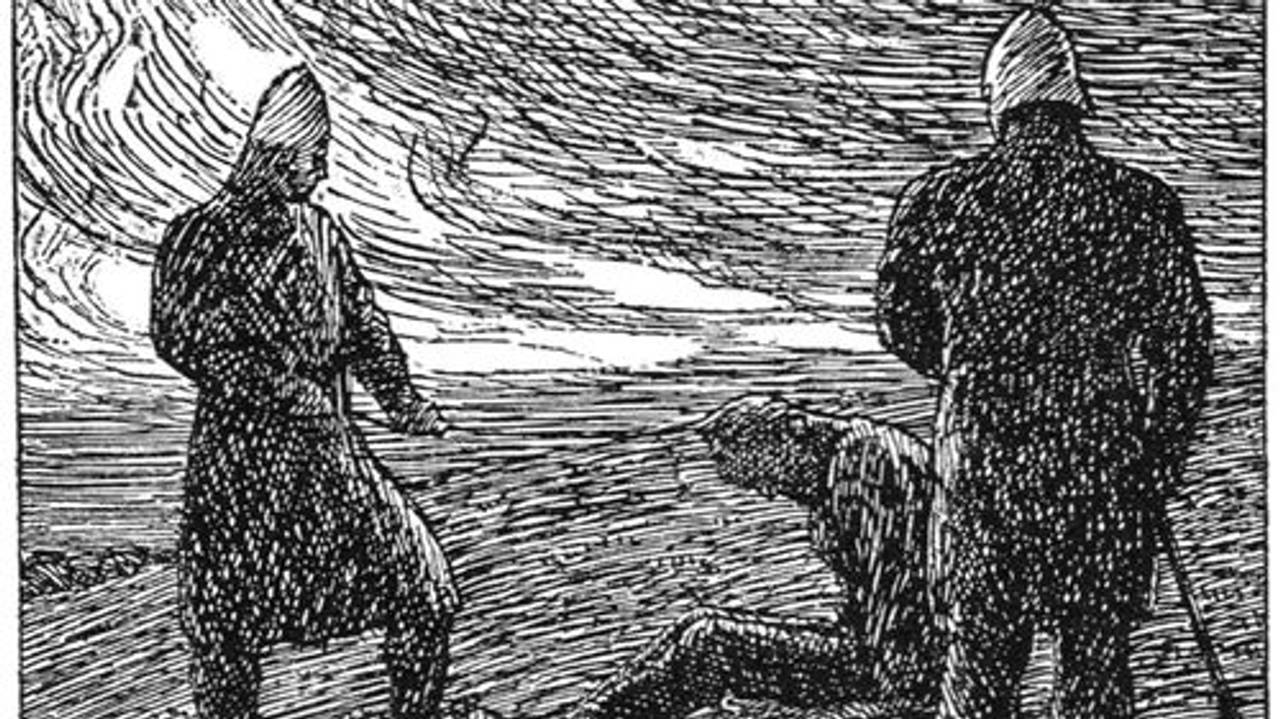 Jøkul Bårdsson drepes av mennene til kong Olav Haraldsson. Tegning av Erik Werenskiold fra Snorre Sturlasons kongesagaer.