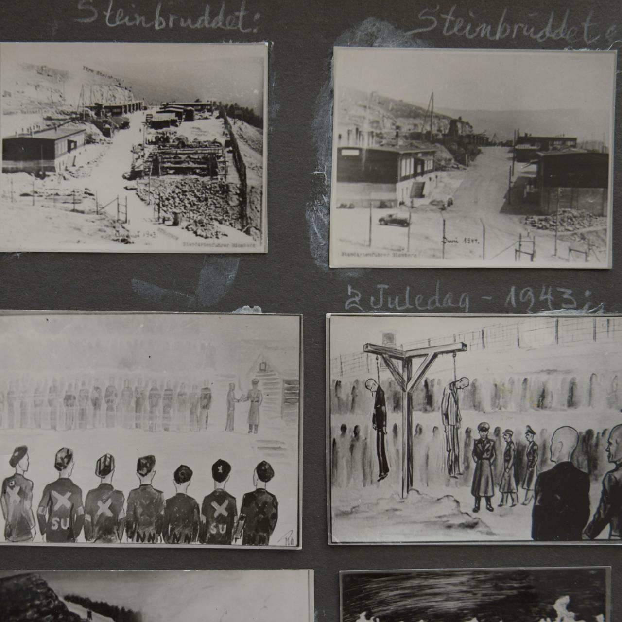 Thorvald Michelsens fotoalbum med teikningar frå Natzweiler.