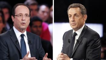 Francois Hollande (t.v.) og Nicolas Sarkozy