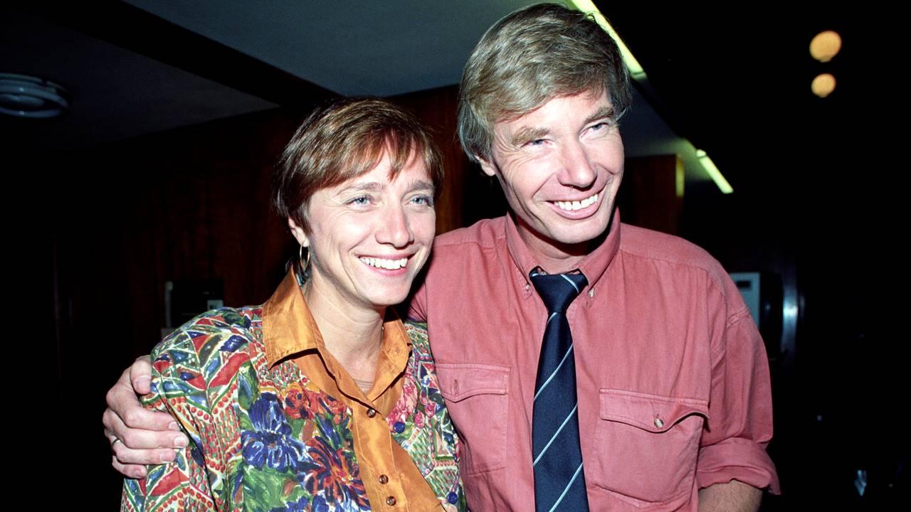 Oslo 19910910 Kommune- og fylkestingsvalg Arbeiderpartiets politikere Ann-Marit Sæbønes og Rune Gerhardsen.
