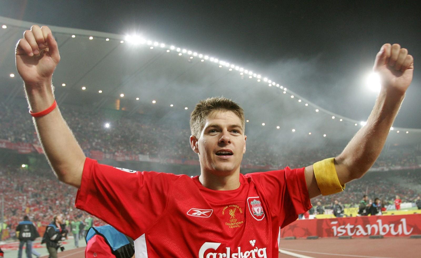 Gerrard jubler for seieren mot Milan i 2005-finalen av Champions League.