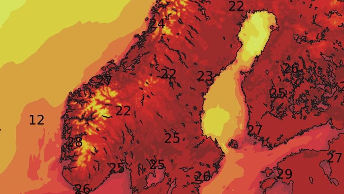 varm tirsdag - Foto: Meteorologisk institutt