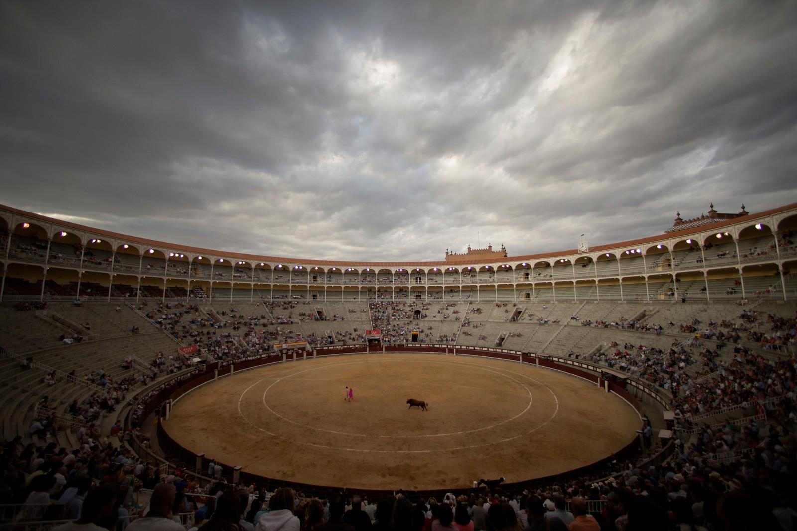 Den spanske tyrefekteren Angel Teruel opptrer på Las Ventas stadionet i Madrid, Spania.
