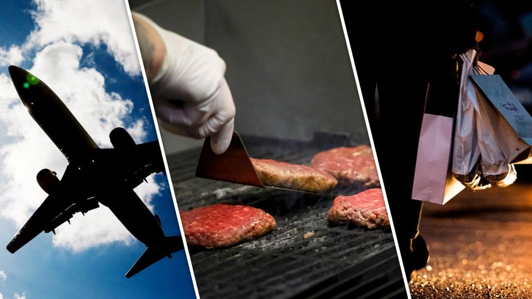 Fotomontasje av et fly, grilling av hamburgere og en person med mange handleposer