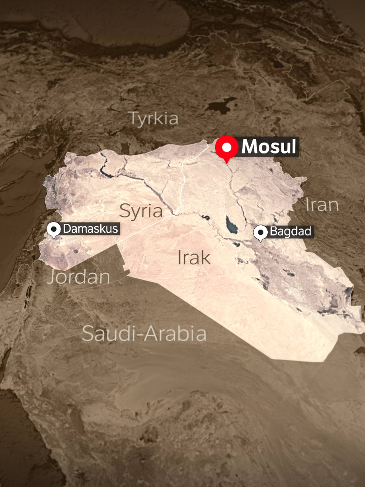 Kart over hvor Mosul ligger.